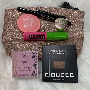 Bundle of 7 Makeup Items w/Glitter Makeup Bag
